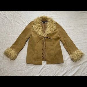 Outer Edge Leather Jacket with Shearling Collar